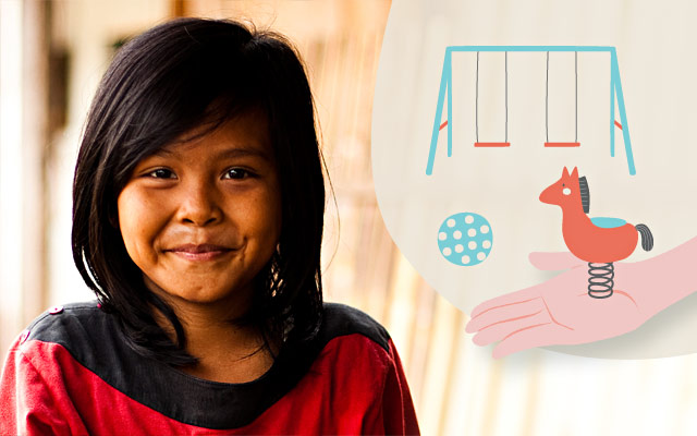 Area giochi Tailandia con i regali solidali di Compassion