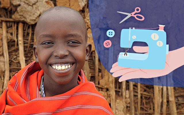 Macchina da cucire in Ghana con i regali solidali Compassion